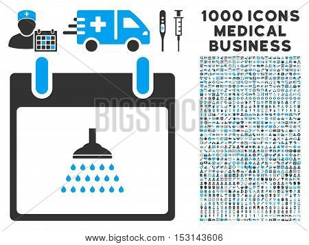 Blue And Gray Shower Calendar Day glyph icon with 1000 medical business pictograms. Set style is flat bicolor symbols, blue and gray colors, white background.