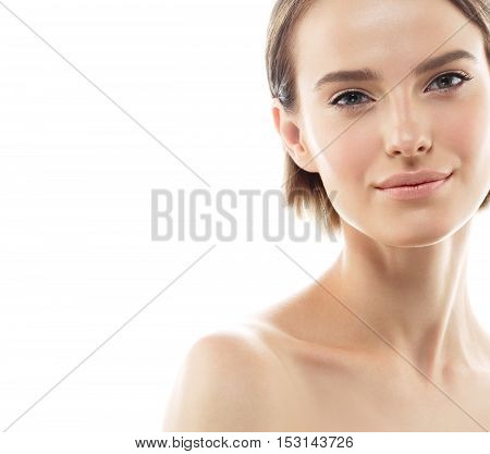 Beauty Woman Face Portrait. Beautiful Model Girl With Perfect Fresh Clean Skin