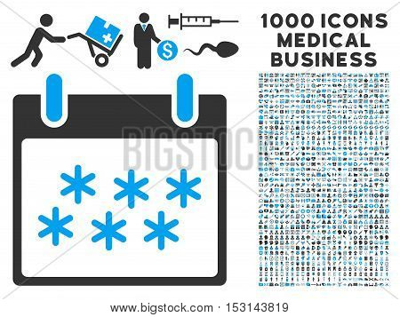 Blue And Gray Snow Calendar Day glyph icon with 1000 medical business pictograms. Set style is flat bicolor symbols, blue and gray colors, white background.