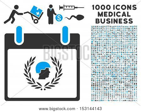 Blue And Gray Soldier Laurel Wreath Calendar Day glyph icon with 1000 medical business pictograms. Set style is flat bicolor symbols, blue and gray colors, white background.