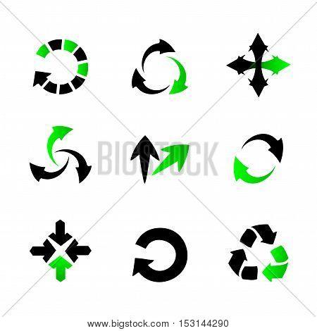 Vector collection of arrows - black and green circular arrows