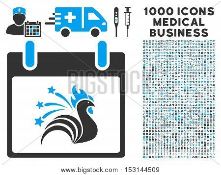 Blue And Gray Sparkle Rooster Calendar Day glyph icon with 1000 medical business pictograms. Set style is flat bicolor symbols, blue and gray colors, white background.