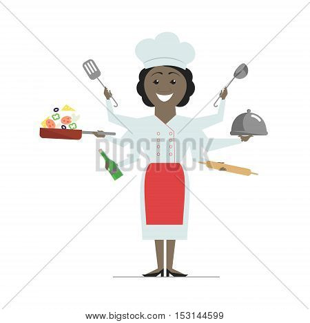 Multitasking African American woman chef with six hands standing on white background holding a frying pan with vegetables hot dish. Vector