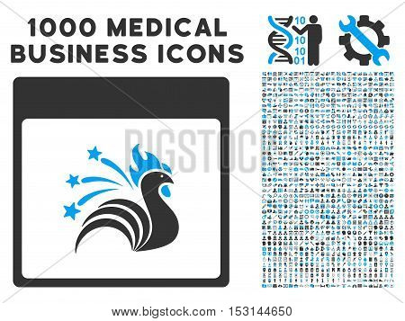 Blue And Gray Sparkle Rooster Calendar Page glyph icon with 1000 medical business pictograms. Set style is flat bicolor symbols, blue and gray colors, white background.