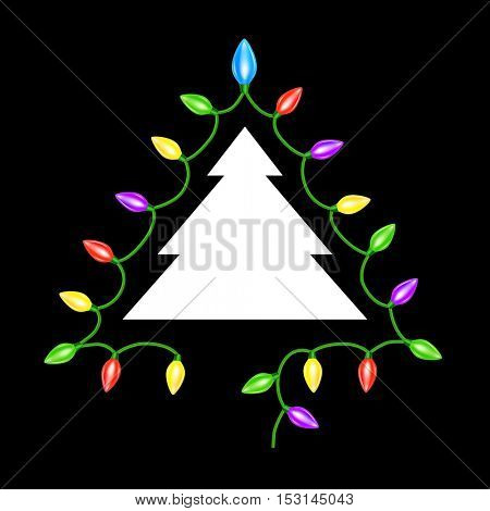 Christmas tree. Garland lights. Card. 10eps