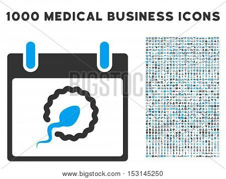 Blue And Gray Sperm Insemination Calendar Day glyph icon with 1000 medical business pictograms. Set style is flat bicolor symbols, blue and gray colors, white background.