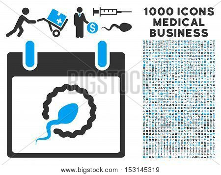 Blue And Gray Sperm Insemination Calendar Page glyph icon with 1000 medical business pictograms. Set style is flat bicolor symbols, blue and gray colors, white background.
