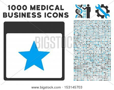 Blue And Gray Star Calendar Page glyph icon with 1000 medical business pictograms. Set style is flat bicolor symbols, blue and gray colors, white background.