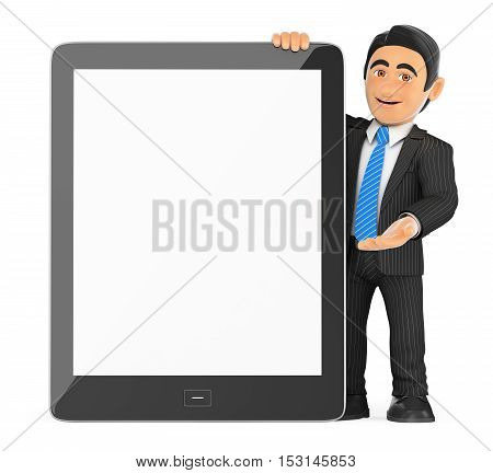 3d business people illustration. Businessman with a huge tablet blank screen. Isolated white background.