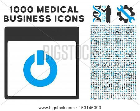 Blue And Gray Switch on Calendar Page glyph icon with 1000 medical business pictograms. Set style is flat bicolor symbols, blue and gray colors, white background.