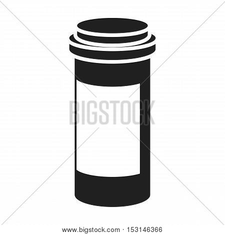 Prescription bottle icon in black style isolated on white background. Medicine and hospital symbol vector illustration.