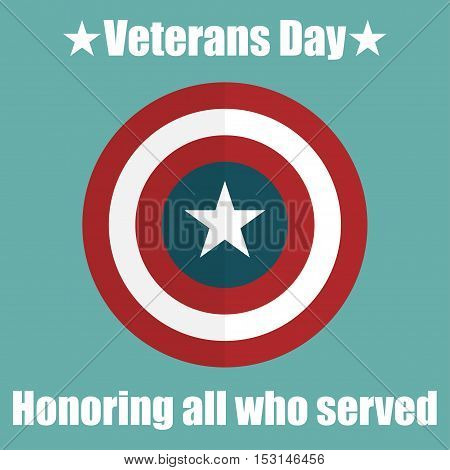 Shield with USA Veterans Day icon. Protect privacy Illustration badge icon