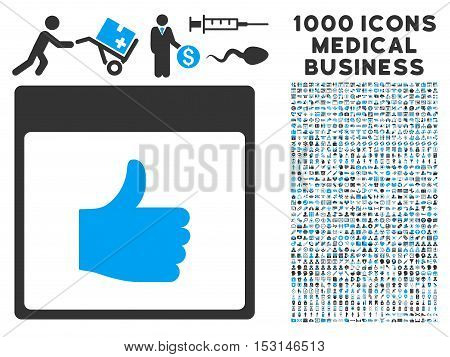 Blue And Gray Thumb Up Calendar Page glyph icon with 1000 medical business pictograms. Set style is flat bicolor symbols, blue and gray colors, white background.