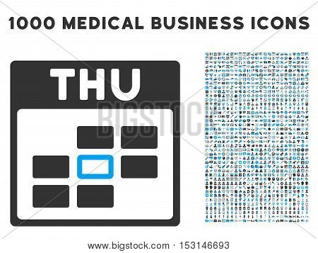 Blue And Gray Thursday Calendar Grid glyph icon with 1000 medical business pictograms. Set style is flat bicolor symbols, blue and gray colors, white background.