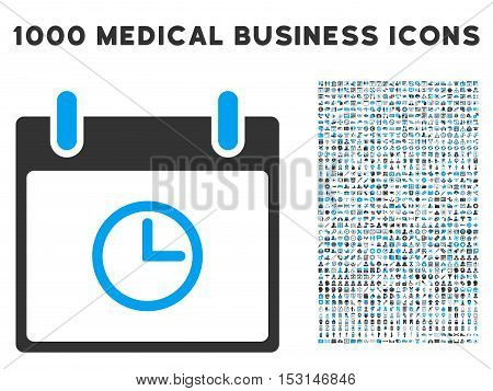 Blue And Gray Time Calendar Day glyph icon with 1000 medical business pictograms. Set style is flat bicolor symbols, blue and gray colors, white background.