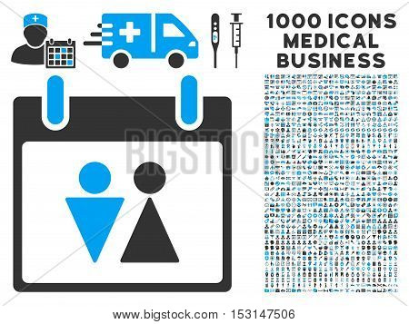 Blue And Gray Toilet Calendar Day glyph icon with 1000 medical business pictograms. Set style is flat bicolor symbols, blue and gray colors, white background.