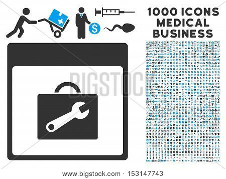 Blue And Gray Toolbox Calendar Page glyph icon with 1000 medical business pictograms. Set style is flat bicolor symbols, blue and gray colors, white background.