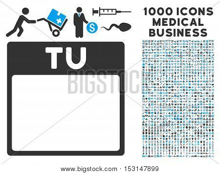 Blue And Gray Tuesday Calendar Page glyph icon with 1000 medical business pictograms. Set style is flat bicolor symbols, blue and gray colors, white background.