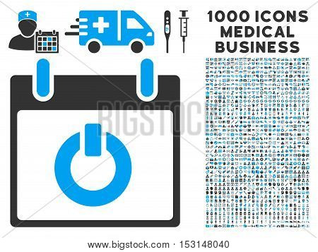 Blue And Gray Turn on Calendar Day glyph icon with 1000 medical business pictograms. Set style is flat bicolor symbols, blue and gray colors, white background.