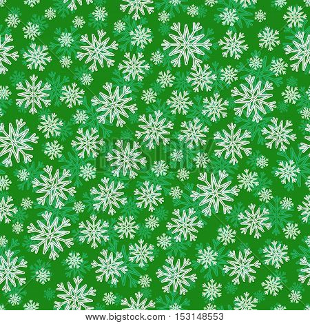 Christmas seamless pattern with white green snowflakes and layer substrate over green