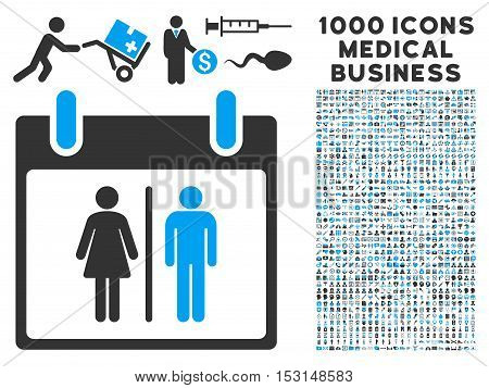 Blue And Gray Water Closet Calendar Day glyph icon with 1000 medical business pictograms. Set style is flat bicolor symbols, blue and gray colors, white background.