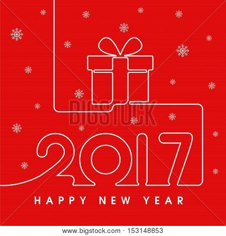 2017 Happy New Year gift in red