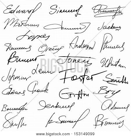 Signature set fictitious contract signature business autograph illustration