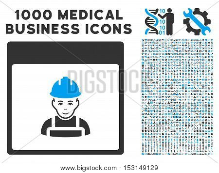 Blue And Gray Worker Calendar Page glyph icon with 1000 medical business pictograms. Set style is flat bicolor symbols, blue and gray colors, white background.