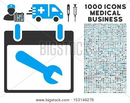 Blue And Gray Wrench Tool Calendar Day glyph icon with 1000 medical business pictograms. Set style is flat bicolor symbols, blue and gray colors, white background.