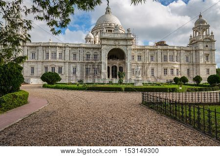 Historic Victoria Memorial architectural building and museum at Kolkata, India.