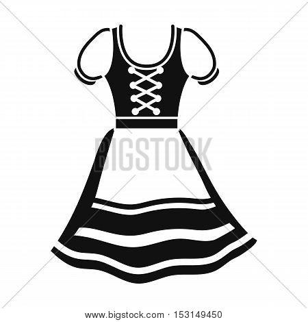 Dirndl icon in black style isolated on white background. Oktoberfest symbol vector illustration.