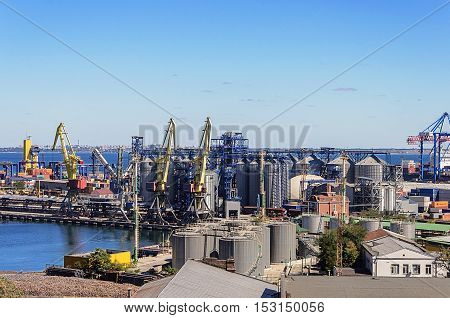 Odessa, Ukraine - September 01, 2016: Tankes and cranes in Commercial Sea Port of Odessa