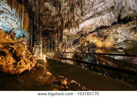 Cuevas De Nerja - Caves Of Nerja In Spain. Famous Natural Landmark.