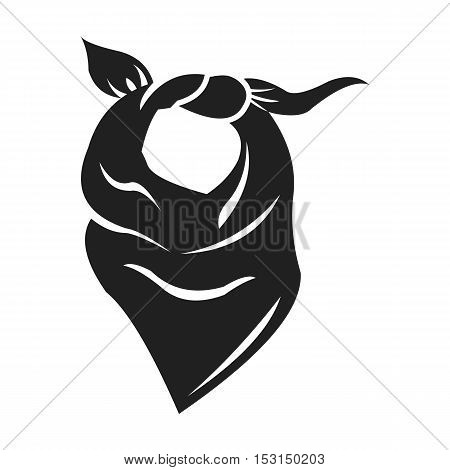 Cowboy scarf icon in black style isolated on white background. Wlid west symbol vector illustration.