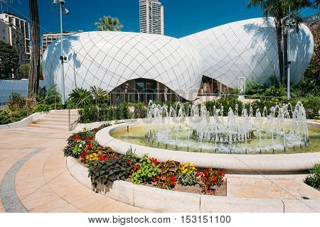Monte-Carlo, Monaco - June 28, 2015: Monte-Carlo Pavillions. Designed by architect Richard Martinet, the five Pavillons Monte-Carlo house twenty-one luxury boutiques in the centre of Monaco