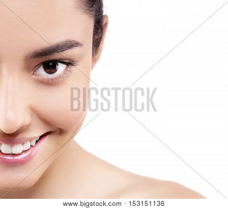 Skin Tone Cream Lines On Woman Half-face. Beautiful Woman Portrait Beauty Skin Healthy And Perfect M