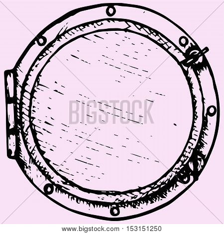 boat window porthole doodle style sketch illustration hand drawn vector