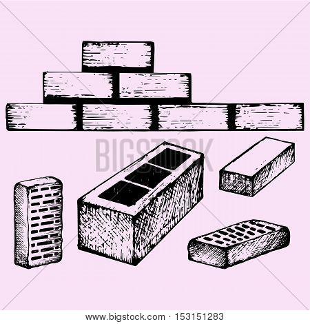 set bricks, cinder block doodle style sketch illustration hand drawn vector