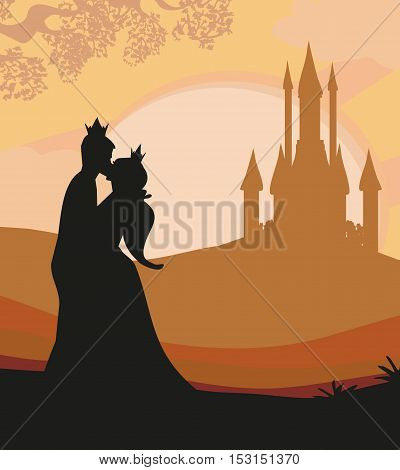 prince and princess silhouette kiss at sunset , vector illustration