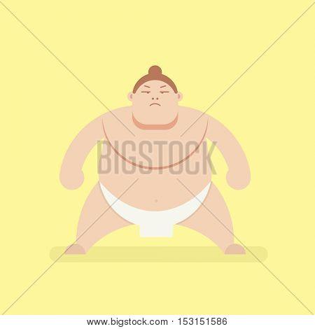 Flat character. Sumo wrestler