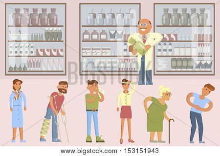 Pharmacy drugstore infographic elements. Drugs icons pills capsules and prescription bottles. Flat vector male pharmacist and illnesses people set