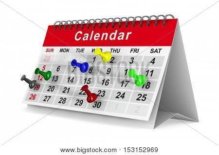 Calendar with pins on white background. Isolated 3D image