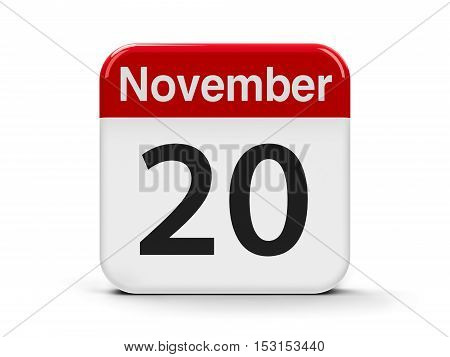 Calendar web button - The Twentieth of November - Universal Children's Day and Africa Industrialization Day three-dimensional rendering 3D illustration