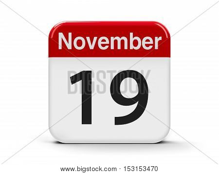 Calendar web button - The Nineteenth of November - International Men's Day and World Toilet Day three-dimensional rendering 3D illustration