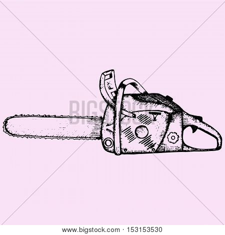 Chainsaw doodle style sketch illustration hand drawn vector