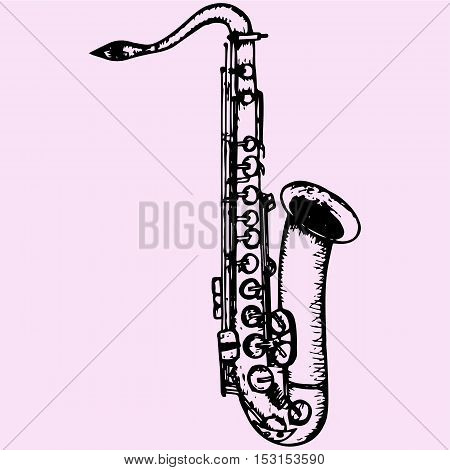 Classical saxophone doodle style sketch illustration hand drawn vector