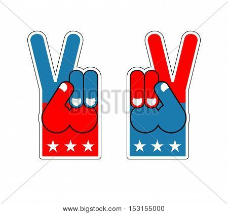 Foam Finger Victory. Symbol Of Usa Patriot. American Sports Sign. Expression Of Emotions. Pattern Of