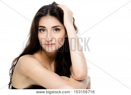 Beauty Spa Woman With Perfect Face Skin Portrait. Beautiful Spa Girl Showing Empty Copy Space For Te