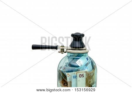 symbol-preserving European money in a glass jar,isolated on white background