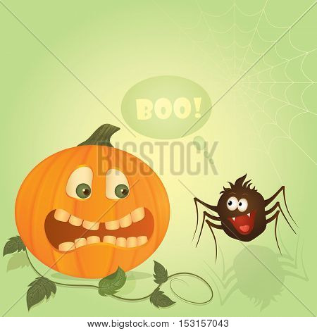 Vector illustration for hallowing holiday. Frightened funny pumpkin and cute spider